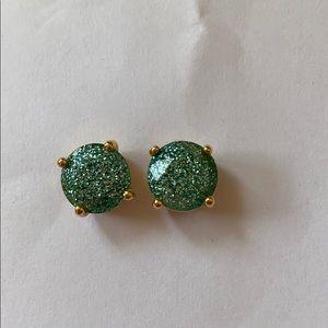 Kate Spade gum drop earrings- teal glitter